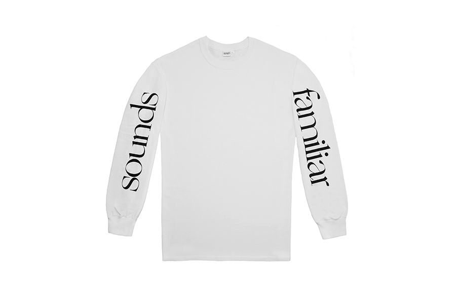 SOUNDS FAMILIAR CLASSIC LOGO ON LONG SLEEVE  WHITE
