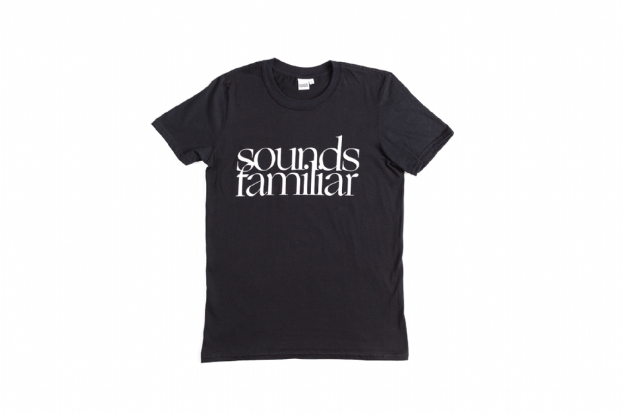 SOUNDS FAMILIAR LOGO TEE BLACK