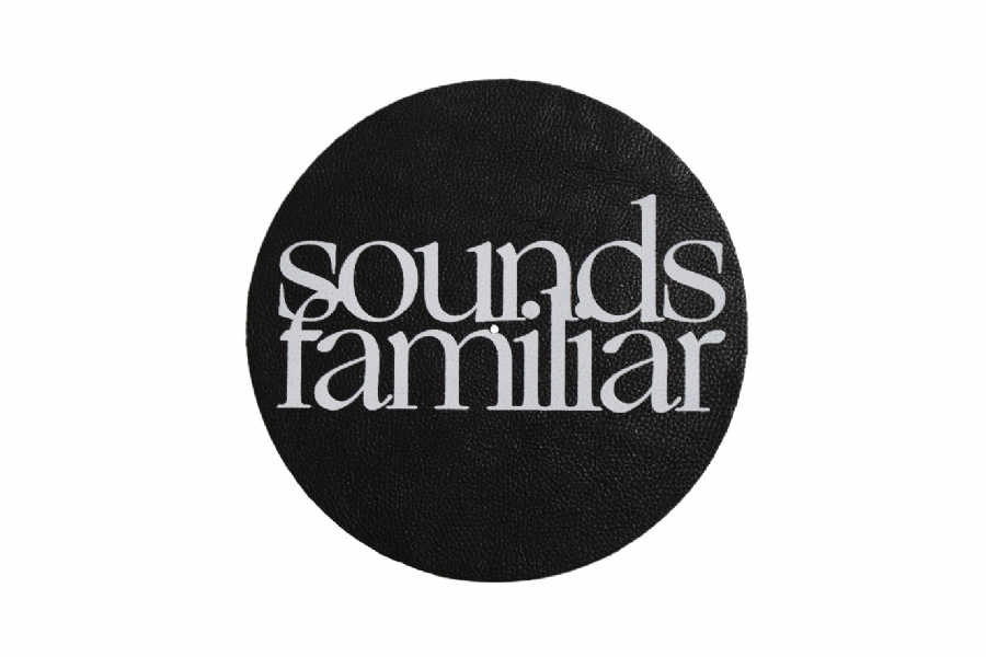 sounds familiar black Premium Leather Mat white logo